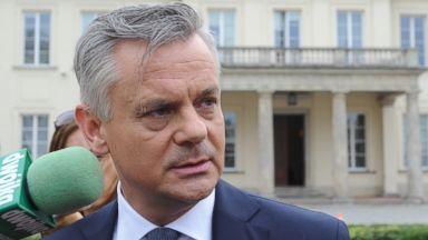 PHOTO: Deputy Culture Minister Piotr Zuchowski speaks to the press in Warsaw, Poland, Aug. 28, 2015.