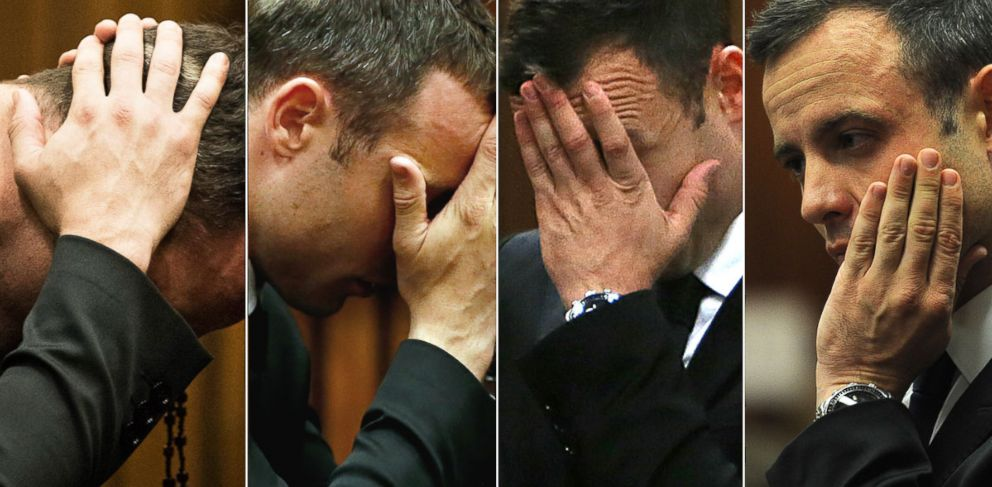 PHOTO: Oscar Pistorius is shown during trial for the murder of his girlfriend Reeva Steenkamp in Pretoria, March 2014.