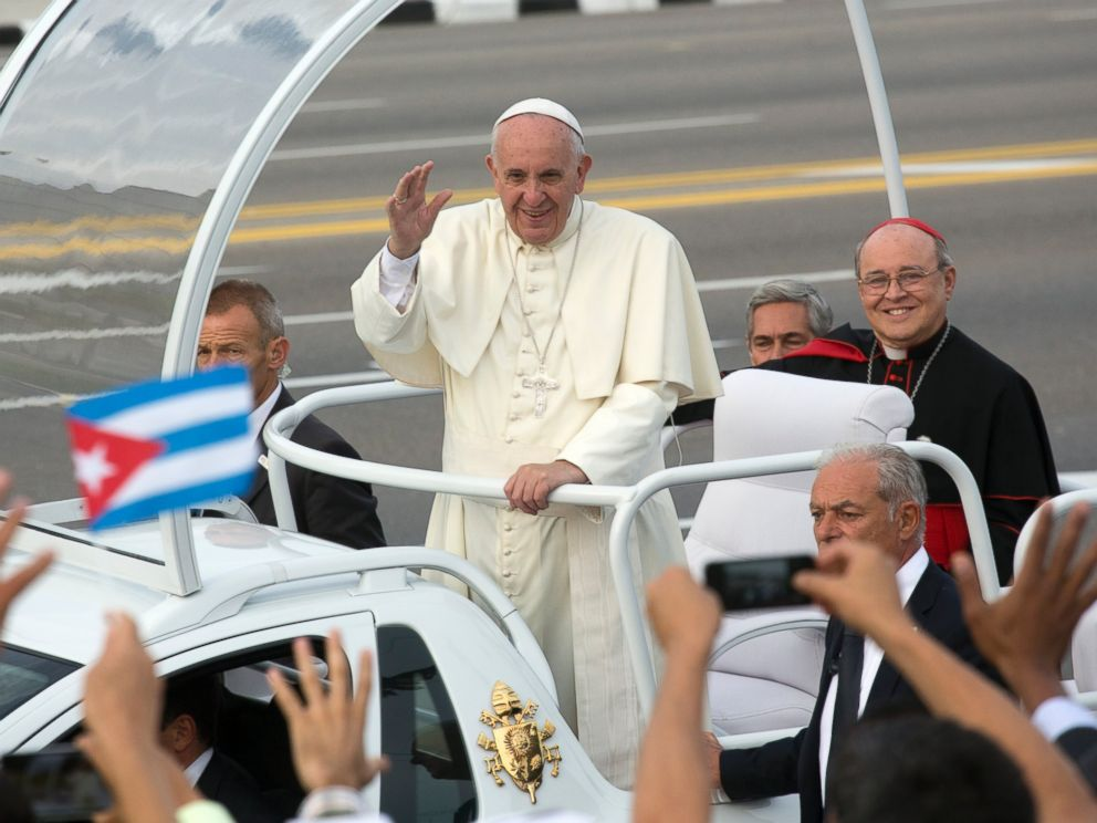 PHOTO: Pope Francis arrives for Mass at Revolution Plaza in Havana, Cuba, Sept. 20, 2015.