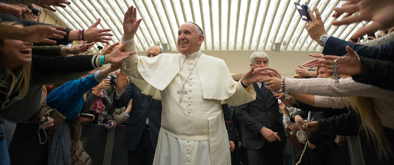 PHOTO: Pope Francis is cheered by fans upon his arrival for the weekly general audience in the Pope Paul VI Hall, at the Vatican on Feb. 4, 2015.
