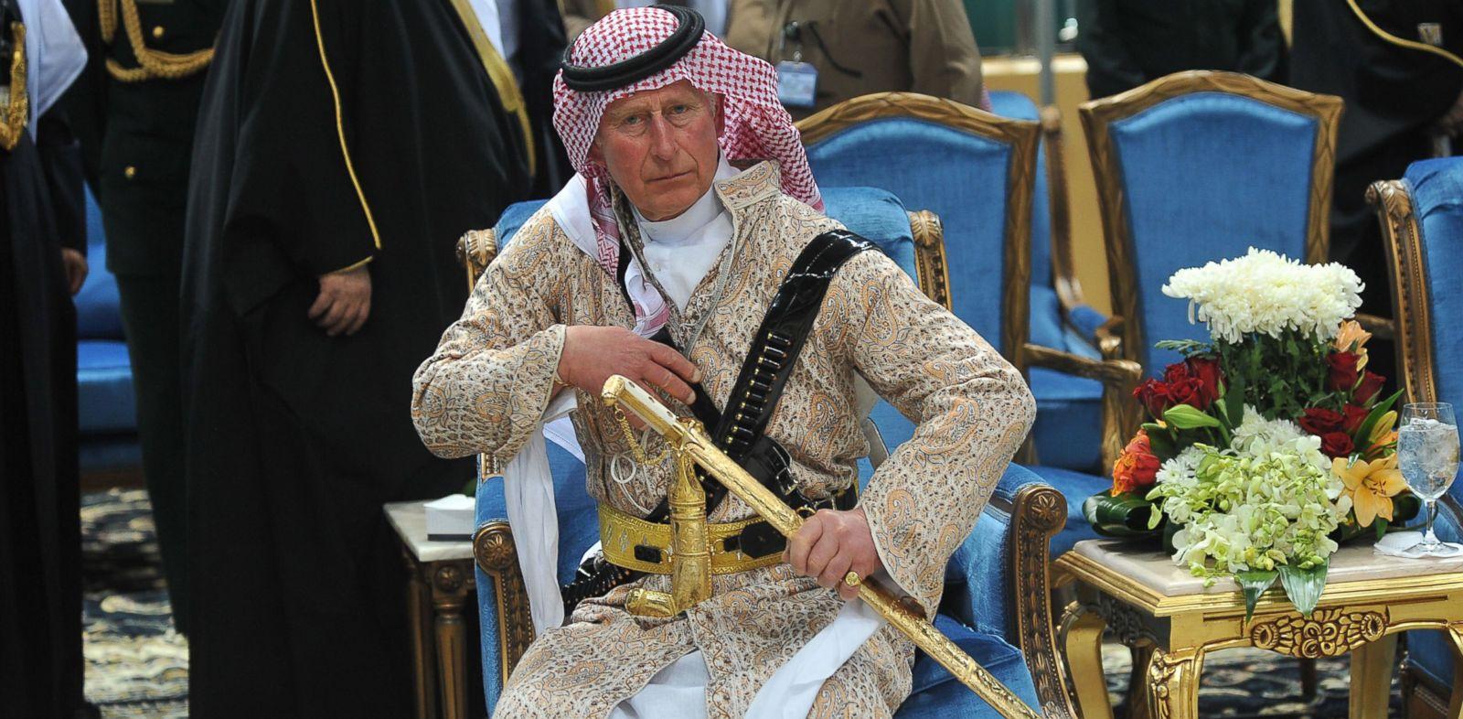 PHOTO: Prince Charles wears traditional Saudi uniform as he attends the Arda performance in Riyadh, Saudi Arabia, Feb. 18, 2014.