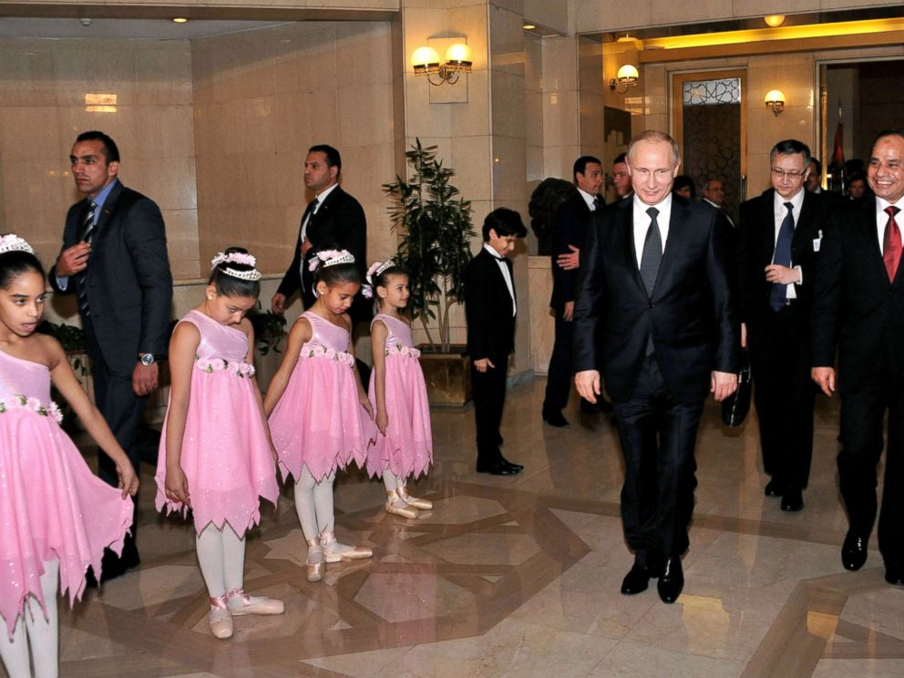 PHOTO: Russian President Vladimir Putin and President Abdel-Fattah el-Sissi are seen at the Cairo Opera House in Egypt, Feb. 9, 2015.