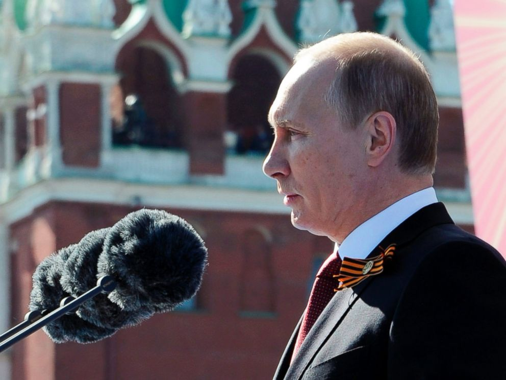 PHOTO: Russian President Vladimir Putin speaks during a Victory Day parade, which commemorates the 1945 defeat of Nazi Germany, at Red Square in Moscow, Russia on May 9, 2014.