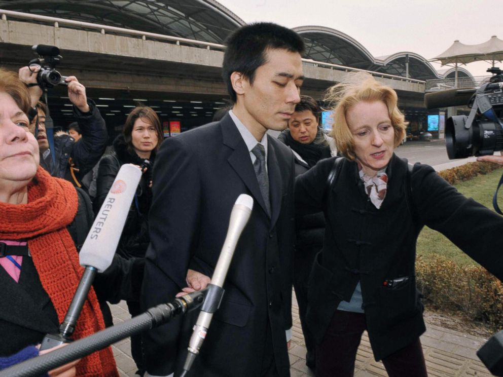PHOTO: U.S. missionary Robert Park arrives at Beijing Capital International Airport from Pyongyang on Feb. 6, 2010.