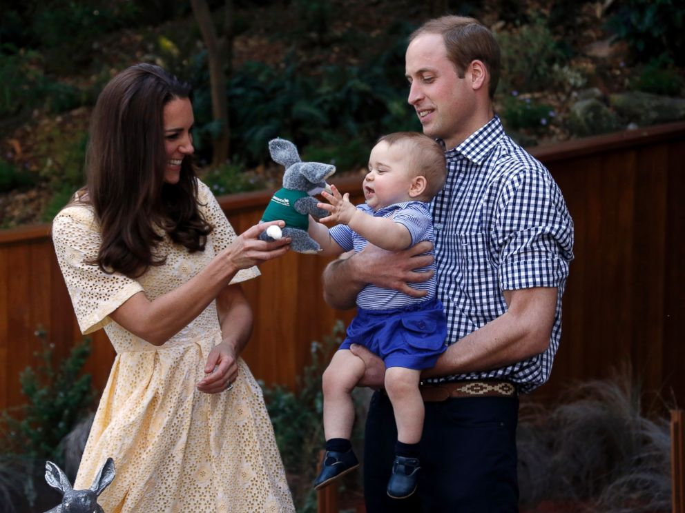 PHOTO: Britains Kate, the Duchess of Cambridge, and her husband Prince William give their son Prince George a stuffed toy of Australian animal called a Bilby, during a visit to Sydneys Taronga Zoo, Australia Sunday, April 20, 2014.