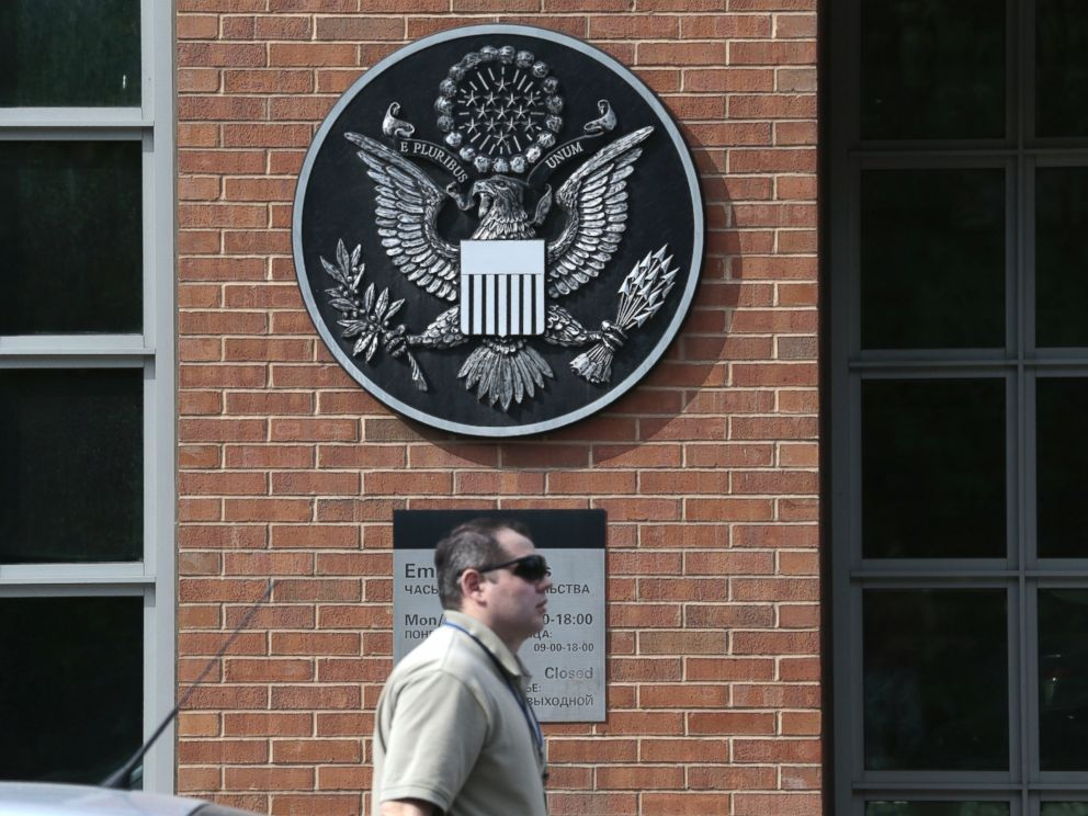 PHOTO: A man passes an entrance of the U.S. Embassy in downtown Moscow, Russia, on Tuesday, May 14, 2013.