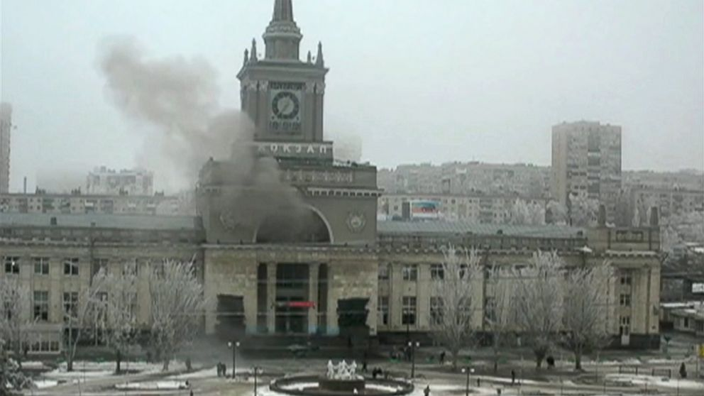 PHOTO: In this photo made by a public camera and made available by the Associated Press Television News smoke pours out after an explosion at Volgograd railway station, in Volograd Russia on Sunday, Dec. 29, 2013.