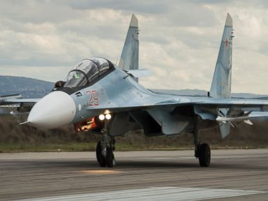 PHOTO: A Russian Su-30 fighter jet lands at Hemeimeem air base in Syria, Jan. 20, 2016.