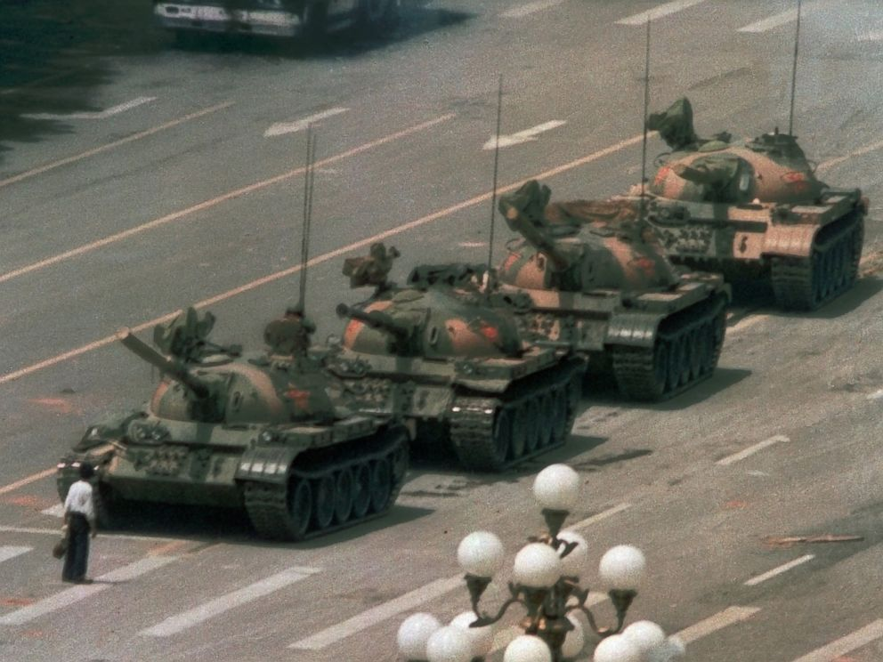 PHOTO: A Chinese man stands alone to block a line of tanks heading east on Beijings Cangan Blvd. in Tiananmen Square, June 5, 1989.