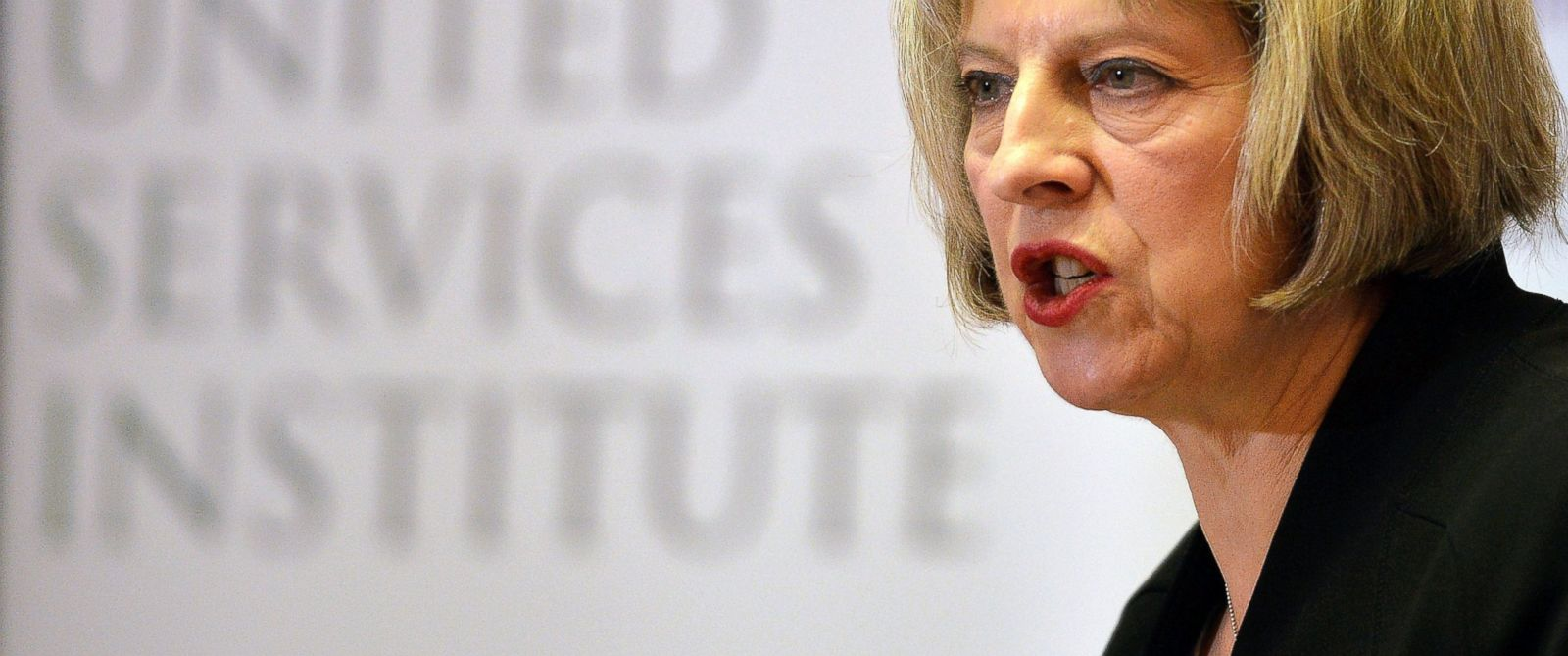 PHOTO: Britains Home Secretary Teresa May speaks during the counter-terrorism awareness week conference at the Royal United Services Institute in London, Nov. 24, 2014.