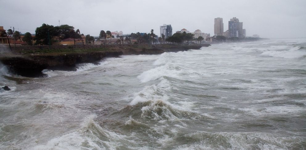 PHOTO: Strong winds and waves batter the coast as Tropical Storm Erika approaches Santo Domingo, in the Dominican Republic, Friday, August 28, 2015.