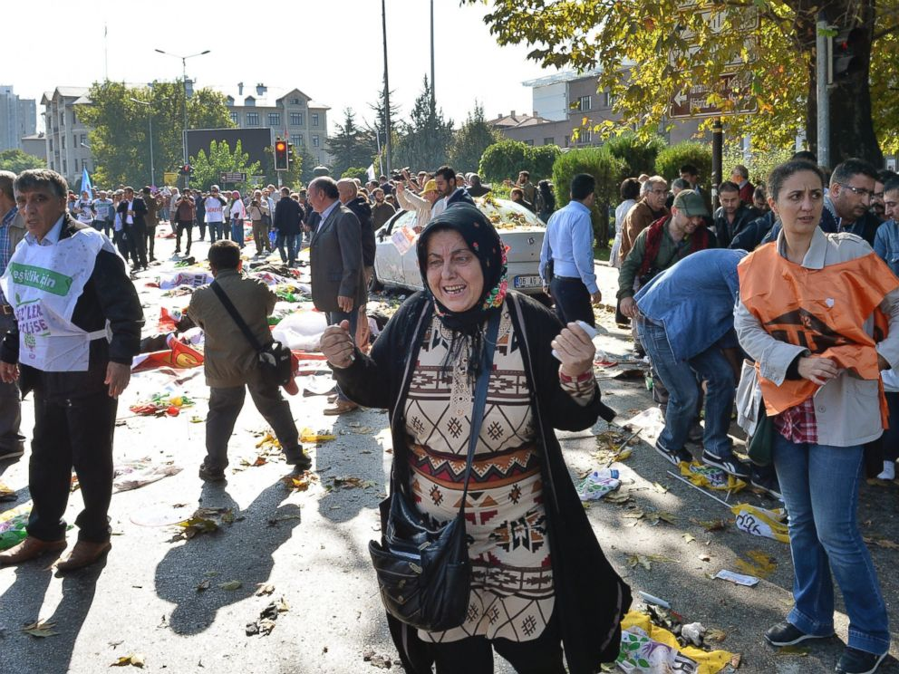 PHOTO: A woman reacts at the site of an explosion in Ankara, Turkey, Oct. 10, 2015.