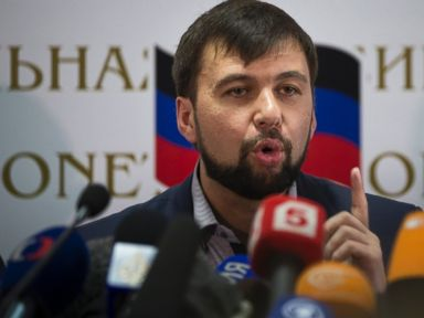 PHOTO: Insurgent leader Denis Pushilin speaks during a news conference in Donetsk, Ukraine, May 12, 2014.