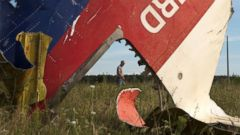 PHOTO: A man walks past a piece of the crashed Malaysia Airlines Flight 17 near the village of Hrabove, eastern Ukraine,  July 21, 2014.