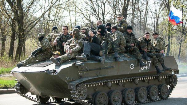 AP ukraine tank russian flag sk 140416 16x9 608 Ukraines Offensive Falters as Elite Units Defect to Pro Russia Side