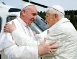 PHOTO: Pope Francis meets Pope emeritus Benedict XVI in Castel Gandolfo Saturday, March 23, 2013.