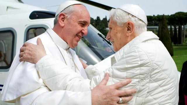 PHOTO: Pope Francis meets Pope emeritus Benedict XVI in Castel Gandolfo Saturday, March 23, 2013.