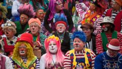 PHOTO: Clowns gather for a group picture during the sixth annual Latin American Clown Congress in Guatemala City, July 29, 2014.