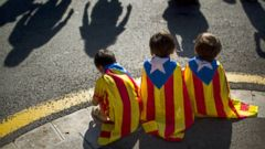 PHOTO: Boys wearing estelada or pro independence flags sit during a rally in Catalonia square in Barcelona, Spain, Oct. 19, 2014.