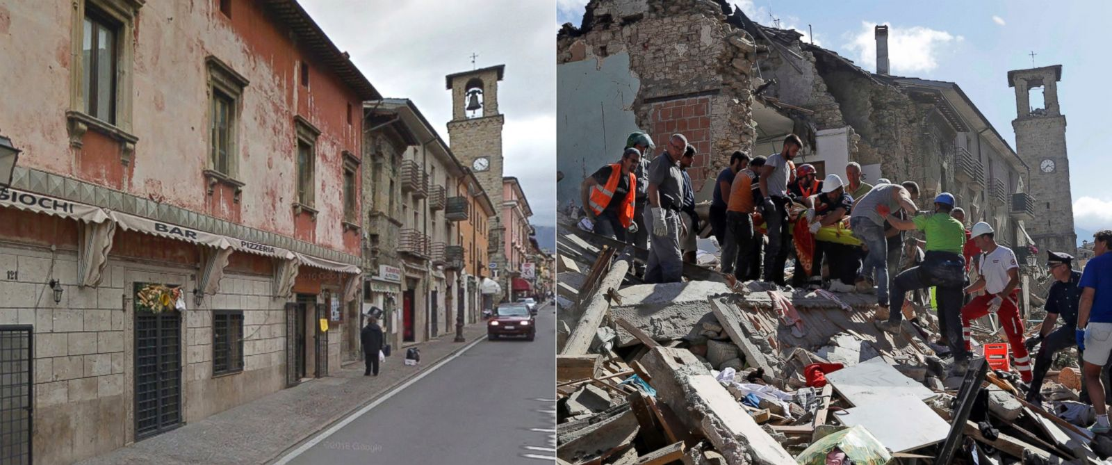 Photos of italian towns before and after deadly earthquake for Where do you go in an earthquake