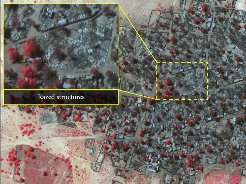 PHOTO: Satellite image of dense housing in Doro Baga taken Jan. 7 2015, following an attack by Boko Haram.