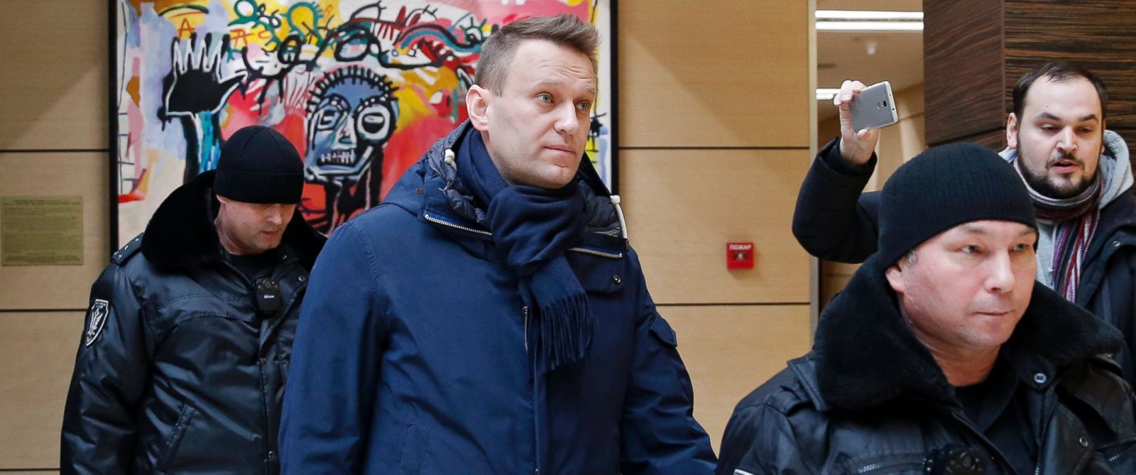 PHOTO: Alexei Navalny, center, escorted by Moscow bailiffs in Moscow, Russia in this Jan. 31, 2017 file photo.