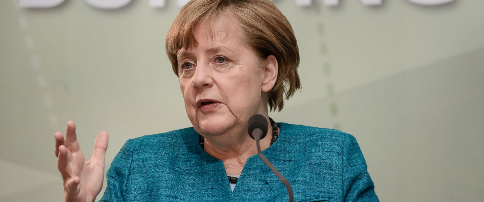 PHOTO: German Chancellor Angela Merkel speaks the Labor 20 Conference in Berlin, in Berlin, May 17, 2017.
