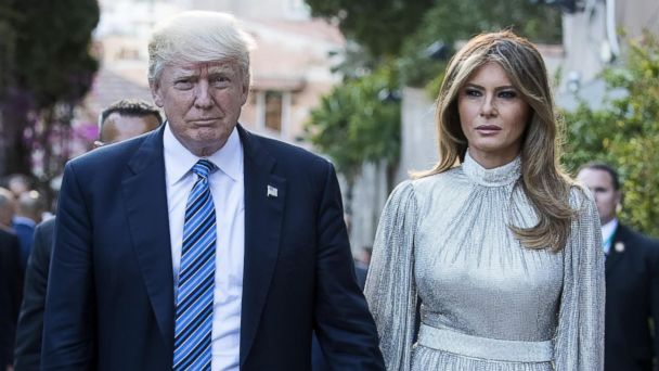 PHOTO: President Donald Trump (L) and First Lady Melania Trump (R) arrive at the Greek Theater to attend a concert, on the sideline of the G7 Summit in Taormina, on the island of Sicily, Italy, May 26, 2017.
