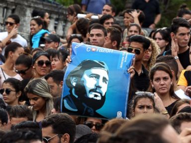 PHOTO: Hundreds of young Cubans gather at Havana University, Nov. 26, 2016, in Havana, Cuba, to remember Cuban leader Fidel Castro, who died last night.