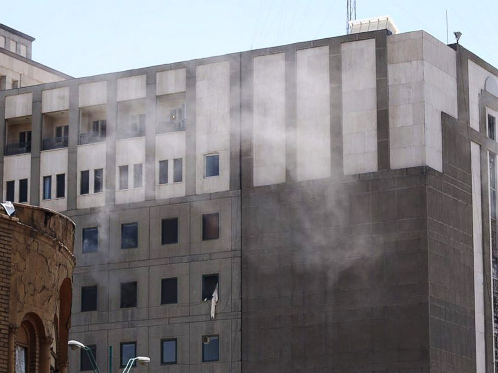 PHOTO: Smoke rise from the Iranian parliament building during an attack in Tehran, Iran, June 7, 2017.