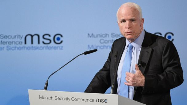 PHOTO: Sen. John McCain speaks during the 53rd Munich Security Conference (MSC) in Munich, Germany, Feb. 17, 2017.