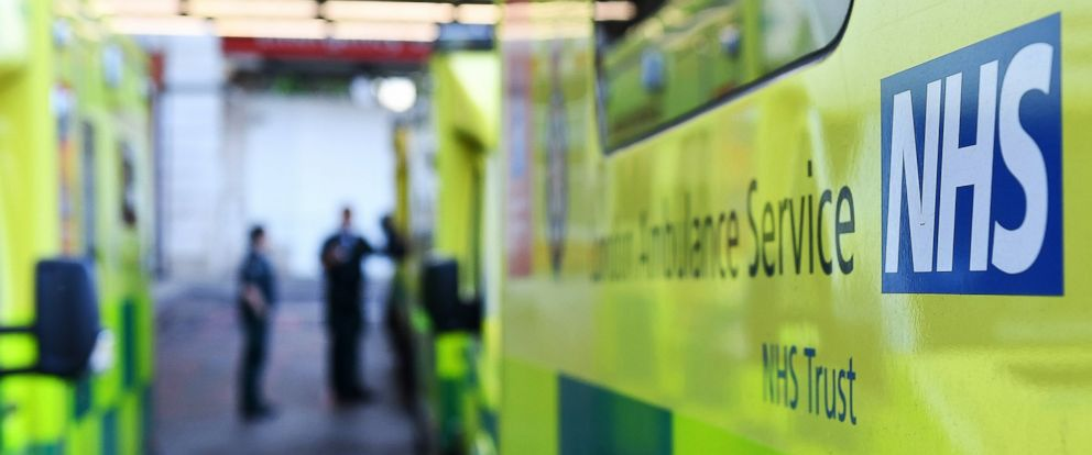 PHOTO: Ambulances stand outside an NHS hospital in London, May 12, 2017.