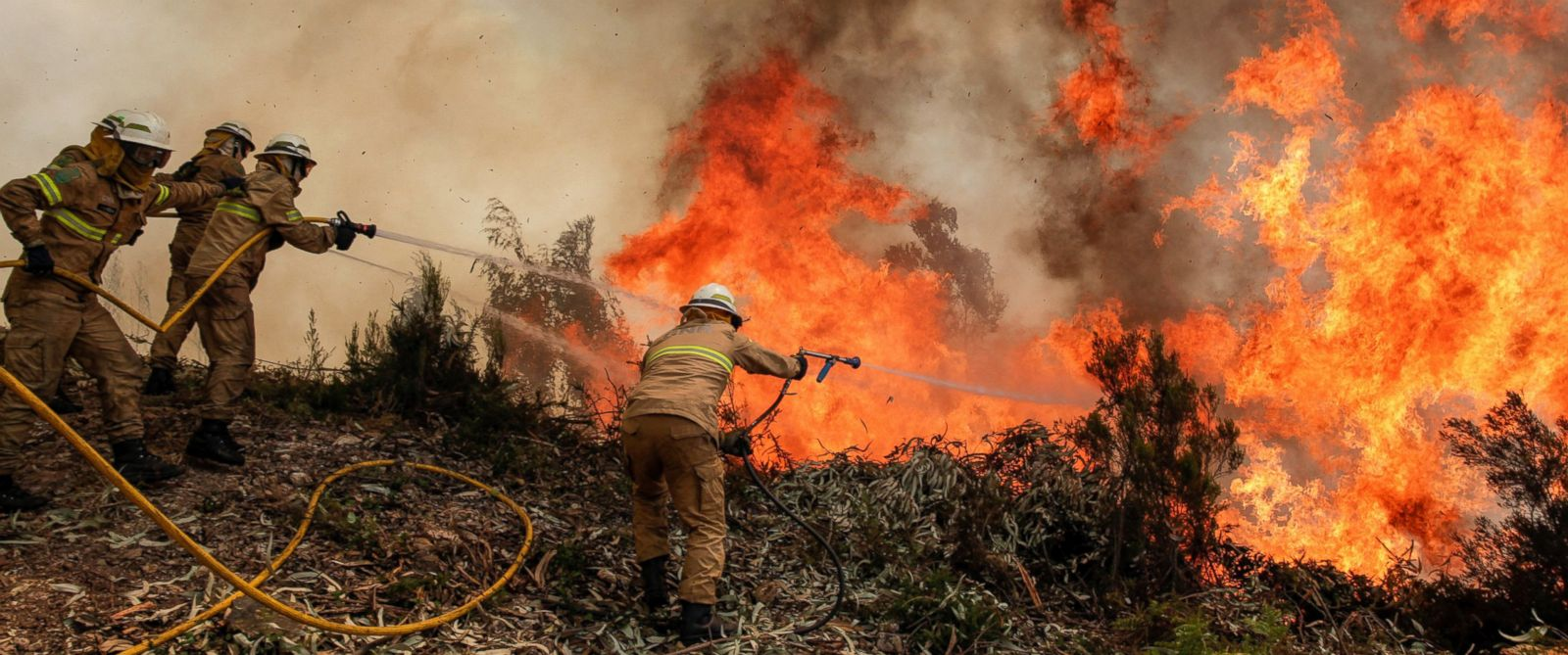PHOTO: Portuguese Republican National Guard soldiers battle with a forest fire in Capela Sao Neitel, Alvaiazere, central Portugal, June 18, 2017.