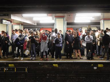 PHOTO: London commuters wait for a District and Circle line train ahead of a planned strike in the London Underground in London, Sept. 16, 2016.