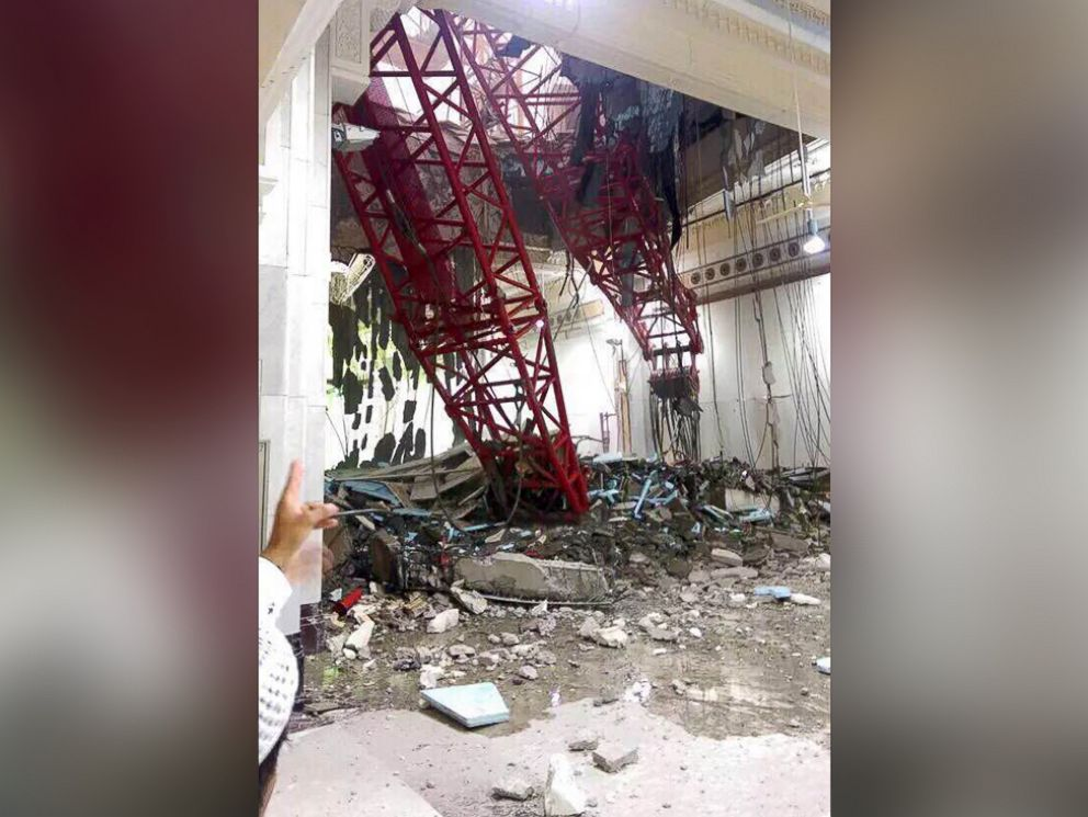 PHOTO: A general view from inside the Grand Mosque showing a part of a large crane that collapsed on the mosque, Sept. 11, 2015.