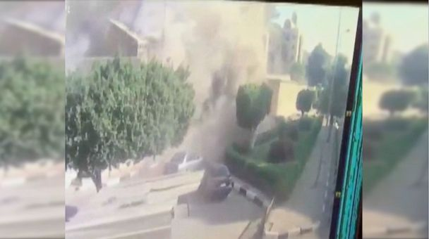 Security camera footage shows devastation from the horrifying attack on a Coptic cathedral in Cairo that killed at least 25 and wounded 49.