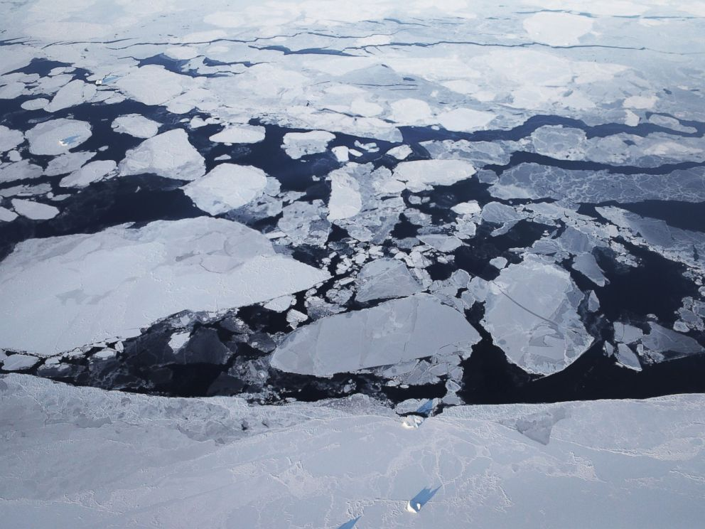 PHOTO: Sea ice is seen from NASAs Operation IceBridge research aircraft off the northwest coast, on March 30, 2017, above Greenland.