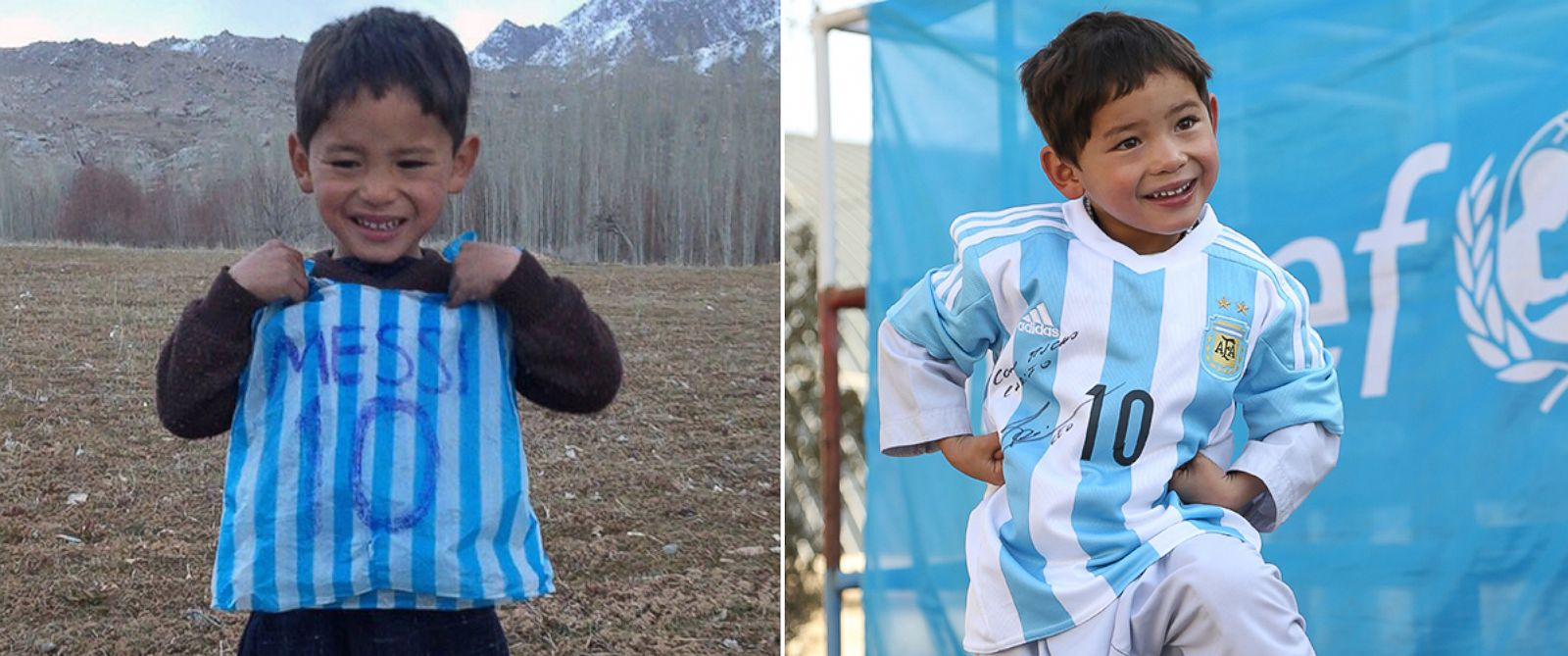 PHOTO: Murtaza Ahmadi of Afghanistan had a Leo Messi jersey made from a plastic bag, and after his photo went viral, he received a real jersey signed by Leo Messi.