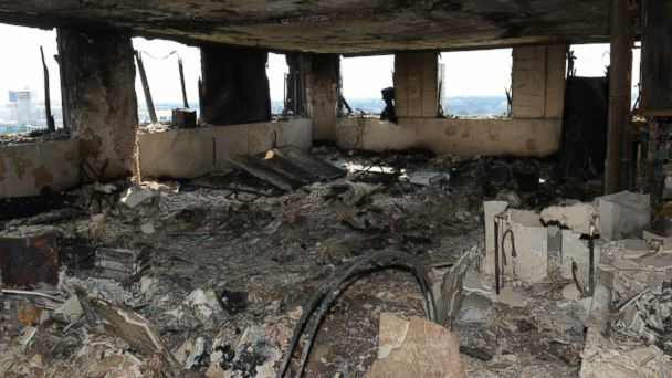 PHOTO: This handout image supplied by the London Metropolitan Police Service on June 18, 2017, shows an interior view of a fire damaged flat in Grenfell Tower in West London.