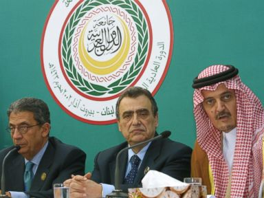 PHOTO: Saudi Arabias Foreign Minister Prince Saud al-Faisal, far right, shown with Lebanese Foreign Minister Mahmoud Hammud,center, and Secretary General of the Arab League Amr Mussa, March 28, 2002, in Beirut, Lebanon.