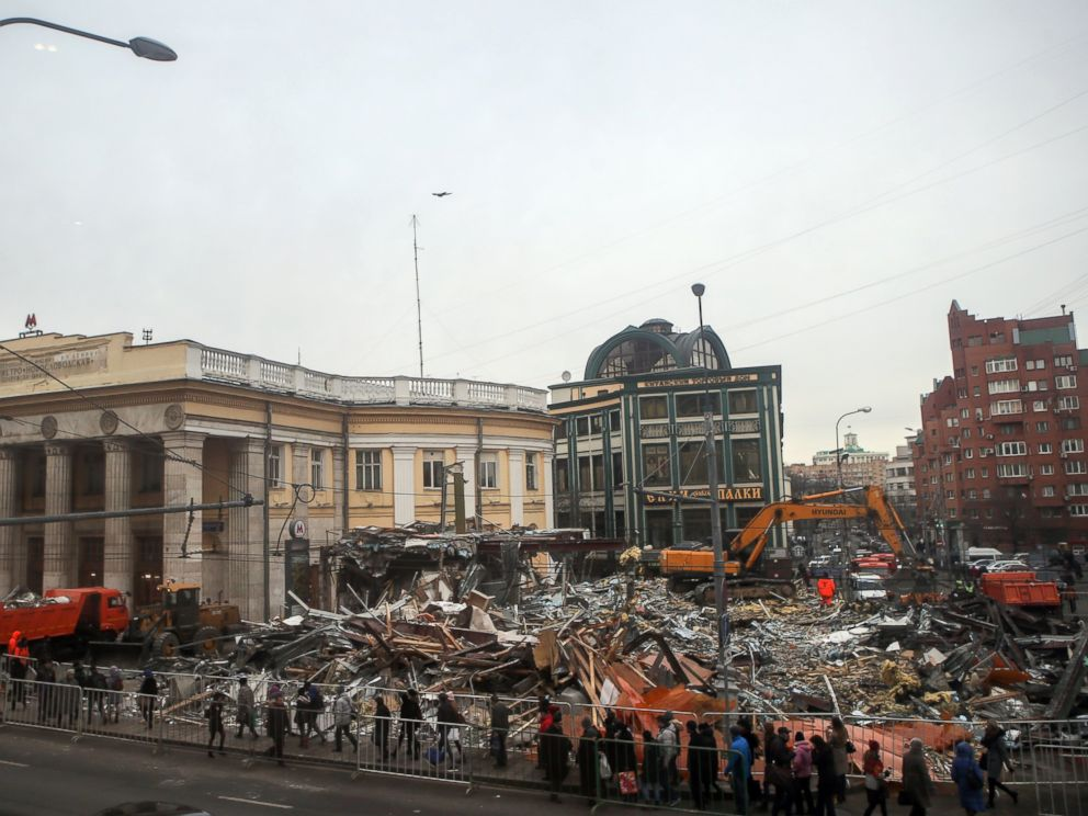 PHOTO: Destroyed street kiosks near Novoslobodskaya metro station on Feb. 9, 2016 in Moscow, Russia.