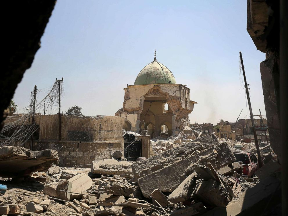 PHOTO: A destroyed Al-Nuri Mosque in the Old City of Mosul, during the ongoing offensive to retake the area from Islamic State (IS) group fighters, on June 29, 2017.