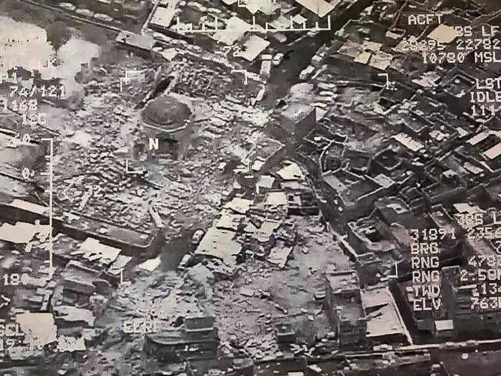 PHOTO: An aerial view purportedly shows destruction inside the Great Mosque of al-Nuri in Mosul, Iraq, June 21, 2017.