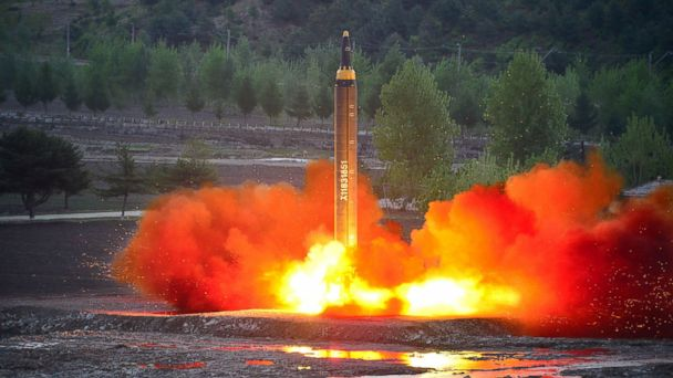 PHOTO: This picture taken on May 14, 2017 and released from North Korea's official Korean Central News Agency (KCNA) on May 15 shows a test launch of the ground-to-ground medium long-range strategic ballistic rocket Hwasong-12 at an undisclosed location.