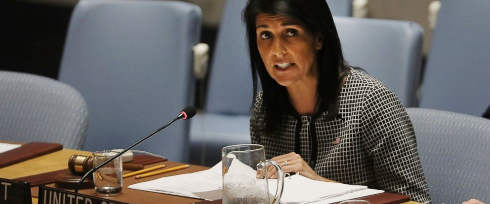 PHOTO:U.S. Ambassador to the United Nations Nikki Haley speaks at a United Nations Security Council meeting April 12, 2017 in New York City.