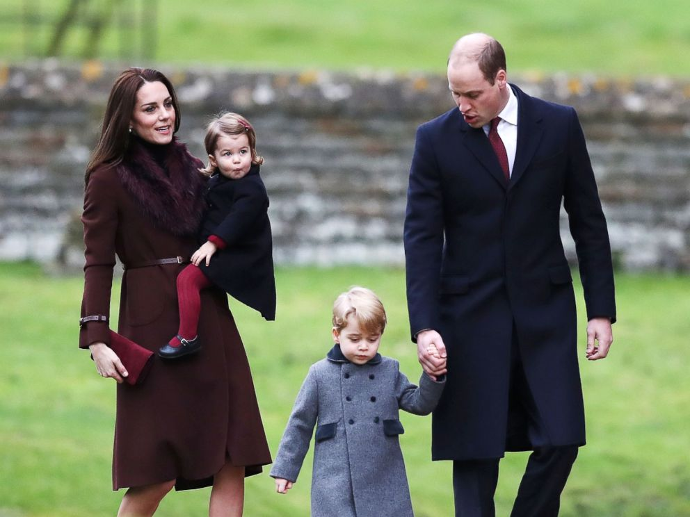 PHOTO: Britains Prince William, right, Duke of Cambridge and Catherine, Duchess of Cambridge arrive with Prince George, center, and Princess Charlotte to attend a Christmas Day service at St Marks Church in Englefield on December 25, 2016.
