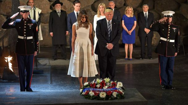 PHOTO: President Donald Trump and first lady Melania Trump lay a wreath during a visit to the Yad Vashem Holocaust Memorial museum, commemorating the six million Jews killed by the Nazis during World War II, on May 23, 2017, in Jerusalem.