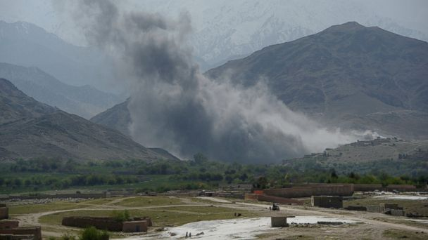 PHOTO: Smoke rises after an air strike by U.S. aircraft on positions during an ongoing an operation against Islamic State (IS) militants in the Achin district of Afghanistan's Nangarhar province, April 11, 2017.