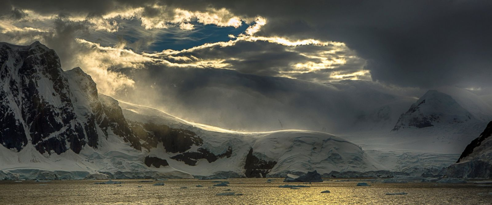 PHOTO: Katabatic winds blow on glaciers at the Lemaire Channel, Antarctica in this undated stock photo.