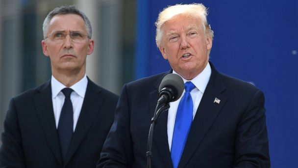 PHOTO: President Donald Trump (R) delivers a speech next to NATO Secretary General Jens Stoltenberg (L) during the NATO (North Atlantic Treaty Organization) summit at the NATO headquarters, in Brussels, May 25, 2017.